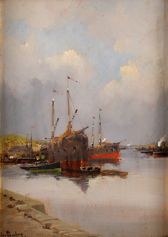 Harbour Scene by Eugène Galien-Lalou