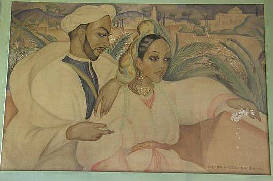 Indian couple seated on a balcony by Gerda Wegener Porta