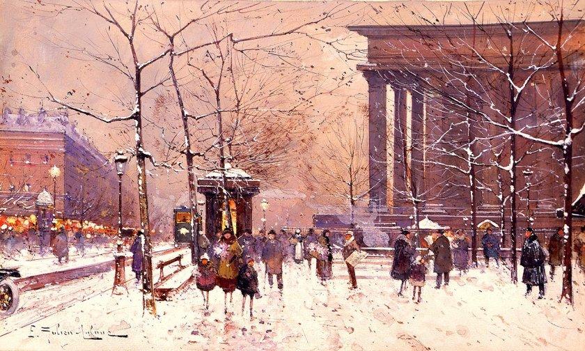 La Madeleine sous la neige by Eugene Galien-Laloue