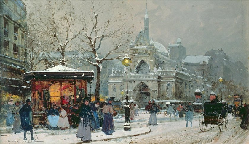 Snow Scene in Paris by Eugène Galien-Lalou
