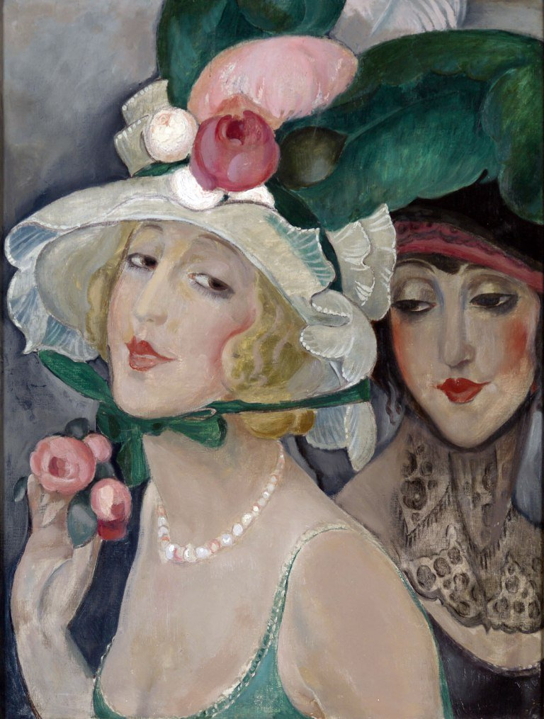 Two Cocottes with Hats (Gerda and Lili) by Gerda Wegener