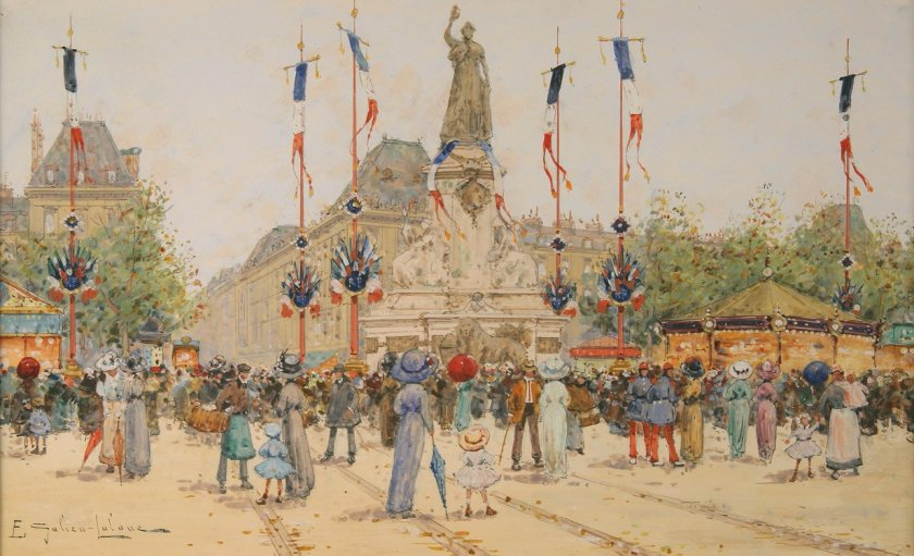 Un 14 Juillet, Place de la Republique by Eugène Galien-Lalou