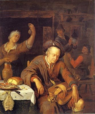 A Hurdy-Gurdy Player Asleep in a Tavern by Willem van Mieris