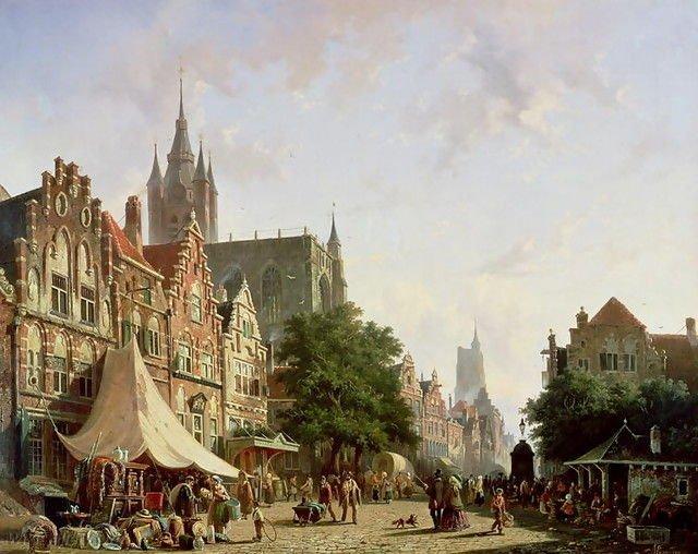 Dutch Street Scene by Adrianus Eversun