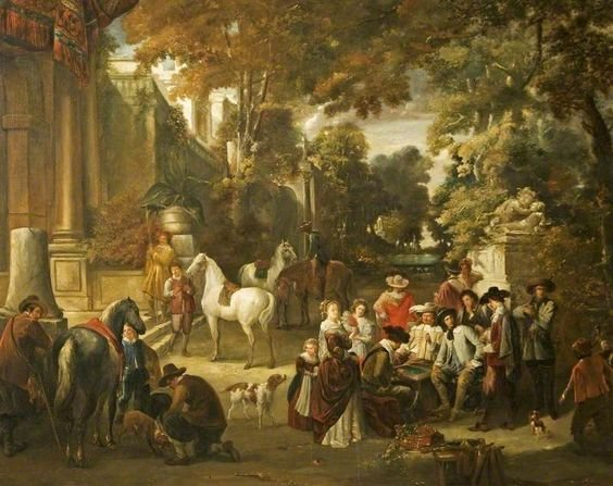 Fête Champêtre: Cavaliers and Women Round a Gaming Board by Joseph le Roy