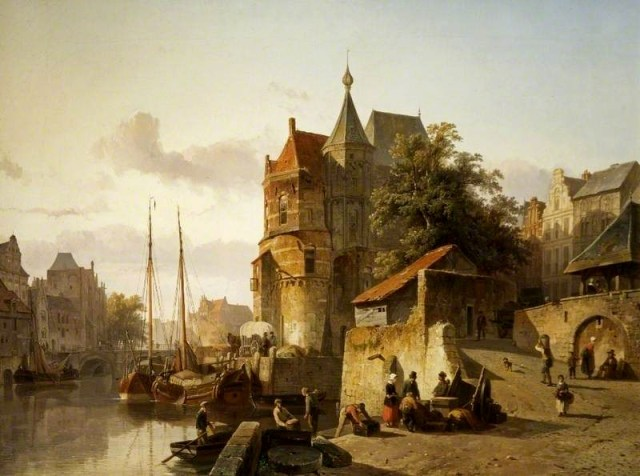 Fortified Building on the Banks of a Canal by Cornelis Springer