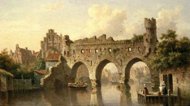 Ruins over the River Birchel at Zutphen by Everhardus Koster