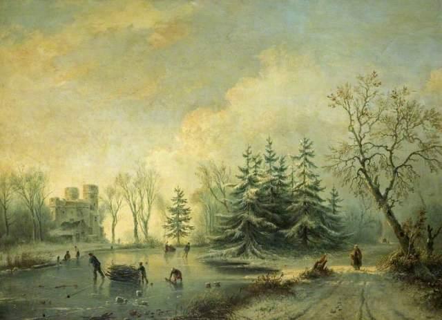 Trees, Castle and Skating Figures by Marinus Adrianus Koekkoek the Elder