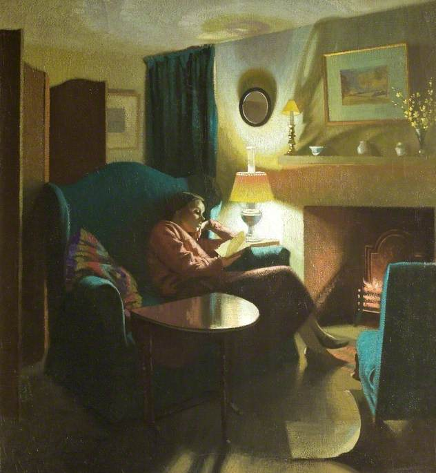 The Artist's Wife, Evelyn, seated reading by Gerald Gardiner