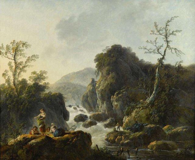 A Mountainous River Landscape by Jean-Baptiste Pillement