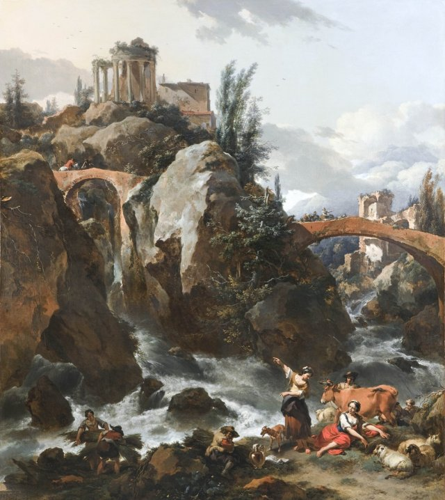 Landscape with a waterfall and the Temple of the Sibyl at Tivoli by Nicolaes Berchem