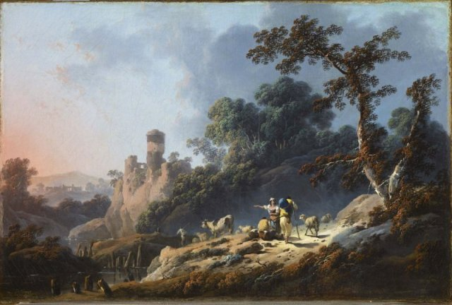 Landscape with Travelers and a Ruin by Jean-Baptiste Pillement