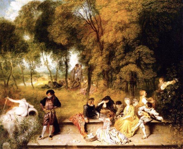 Meeting in the Open Air by Jean-Antoine Watteau (c.1719)