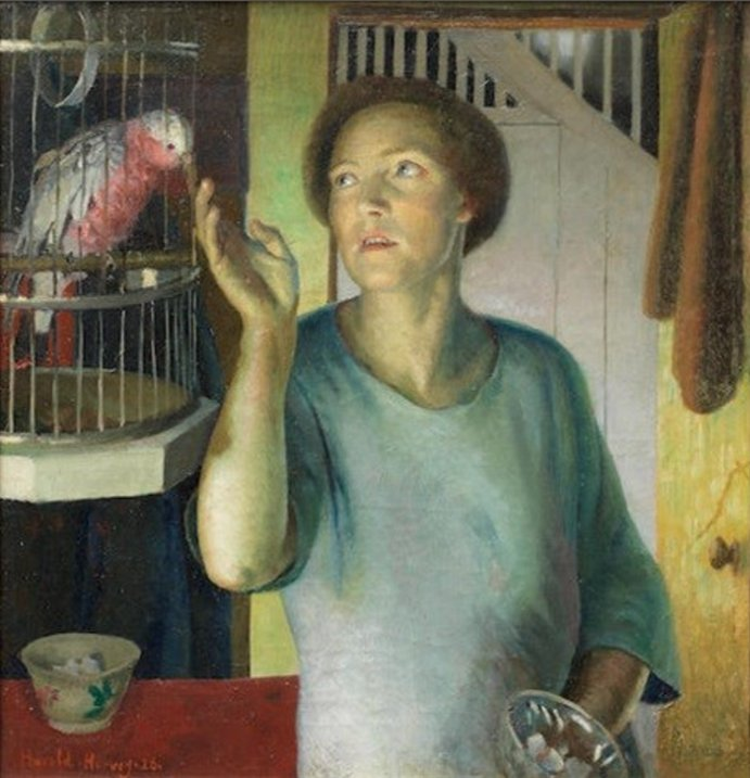 Gertrude Harvey with Parrot in the Artist's Home by Harold Harvey