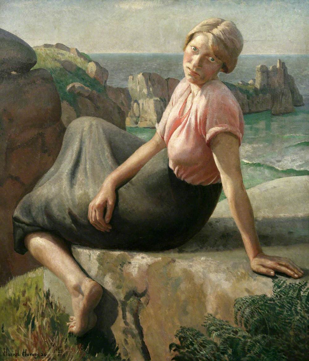 Girl on a Cliff by Harold Harvey (1926)