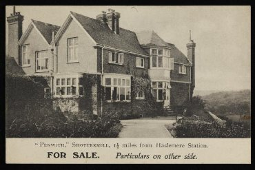 Postcard advertising auction of 'Penwith', Shottermill in 1906