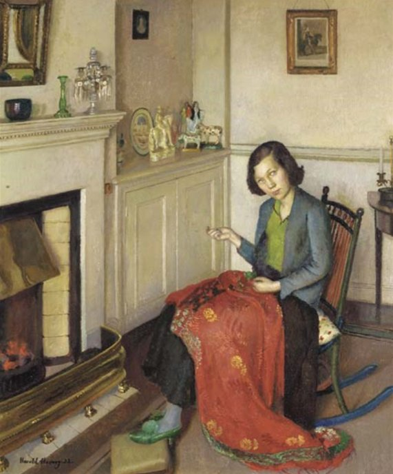 The Red Silk Shawl by Harold Harvey (1932)