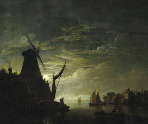 Moonlight Scene with Windmill by Abraham Pether (c.1780)